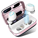 Wireless Earbuds, Bluetooth 5.0 Earbuds 140H Playtime, Bluetooth Headphones TWS Stereo Noise Cancelling Wireless Earphones in Ear with Mic, USB-C Charging, IP7 Waterproof Headset for Sports Rose Gold