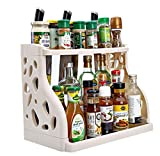 2Tier Kitchen Cabinet Spice Rack Organizer,Standing Rack Kitchen Countertop Storage Organizer Shelf Holder,By Cq acrylic