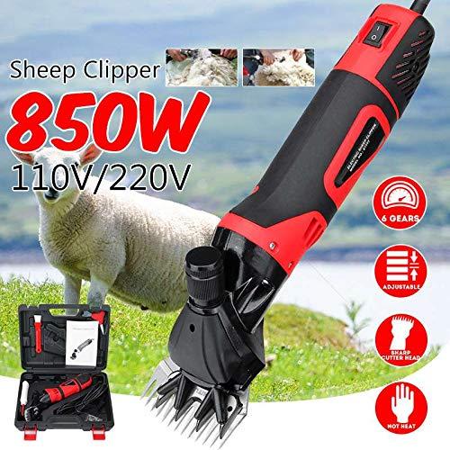Cisailles de Mouton électrique Professionnel Clippers, 850W & 6 Vitesse de Cisaillement réglable Machine, pour Rasage Fourrure chèvre Laine Clipper cisailles Cutter Ciseaux