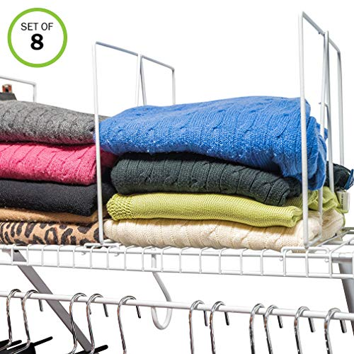 Evelots Closet Wire Shelf Divider-New & Improved-Separator-Easy Clip-Steel-Set/8