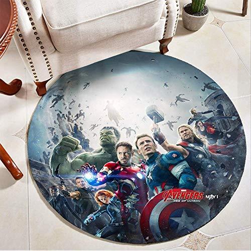 nobrand Avengers Marvel Helden Runder Teppich Iron Man Spider-Man Schlafzimmer Computer Drehstuhl Hängende Korbmatte 80 cm a