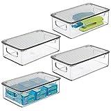 mDesign Caja organizadora con Tapa abatible – Contenedores de plástico apilables para Mesa o Armario – Organizador de Oficina para Sobres, bolígrafos y más – Juego de 4 – Transparente y Gris Humo