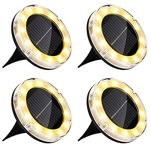 Luce Solare da Giardino, Zorara 4 pezzi 12 LED luci solari, Faretti Solari Luci da Giardino Esterno Faretto Incasso Calda Solare Terra Lampade da Sicurezza per Scala Paesaggio Strade aiuola Vialetto