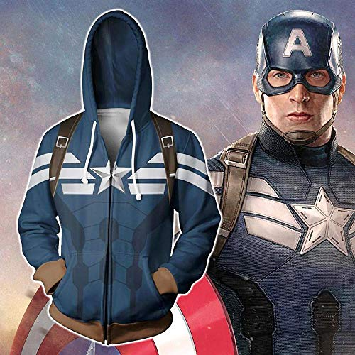 Fashion De Los Hombres De La Cremallera con Capucha De La Chaqueta De 3D Capitán América Impreso Deportes Y Ocio Sudadera A- M