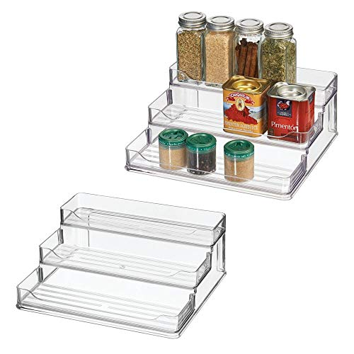 mDesign Plastic Spice and Food Kitchen Cabinet Shelf Organizer - 3 Tier Storage - Modern Compact Caddy Rack - Holds Spices/Herb Bottles, Jars - for Shelves, Cupboards, Refrigerator - 2 Pack - Clear