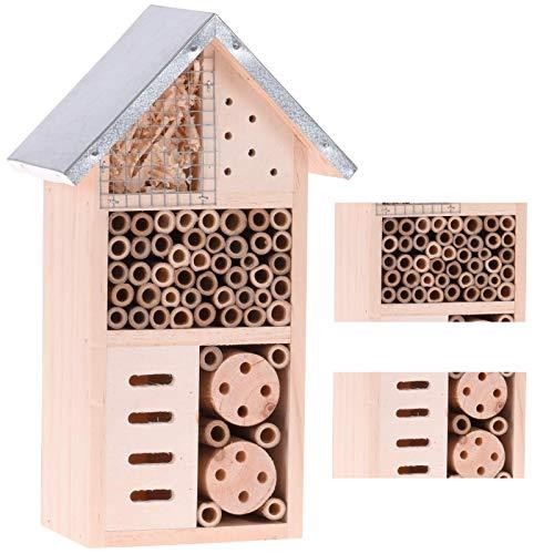 Smart Planet® Stabiles Insektenhotel - Bienenhotel - klein - Insekten Hotel mit Metalldach 15 x 9 x 26 cm (L x B x H)