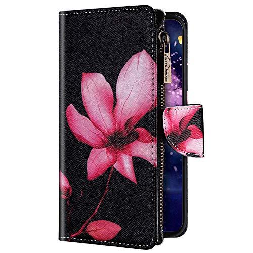 Uposao Kompatibel mit Xiaomi Redmi Note 8 Pro Hülle Geldbörse mit Reißverschluss Handyhülle Bunt Retro Muster Klapphülle Flip Case Cover Schutzhülle Lederhülle Kartenfächer Magnet,Pink Blumen
