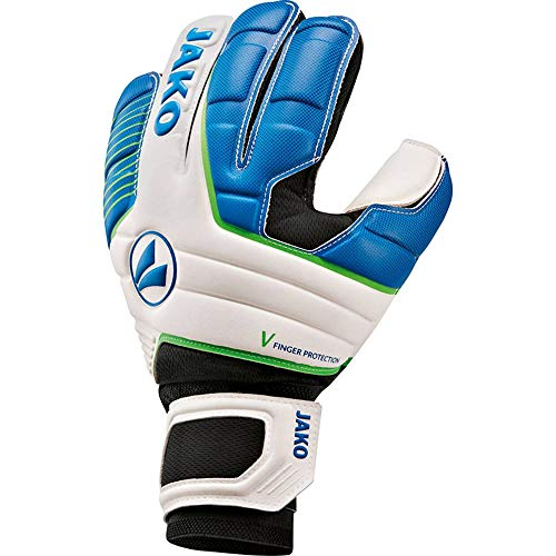 JAKO Herren TW-Handschuh Champ Basic RC Protection, weiß blau/neongrün, 5