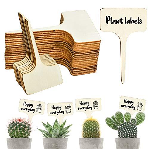EKKONG 50 Piezas Etiquetas de Plantas de Madera, Planta Marcadores de Madera Tipo T, Marcadores de Jardín Duraderas Etiquetas para Interior y Exterior Semillas Hierbas Flores Vegetales (6 x 10 cm)