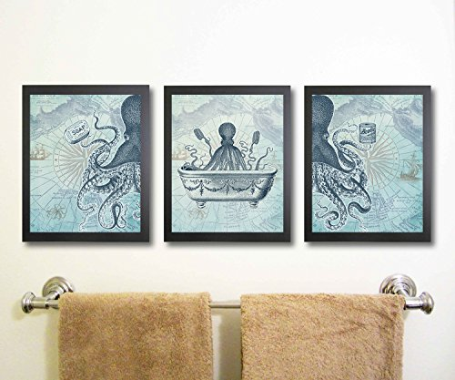 Octopus Funny Vintage Bath Image Nautical Wall Art Prints (Set of 3) Bathroom (Blue)