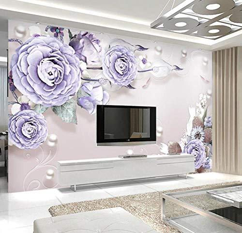 nunxin-Papel Pintado 3D Flor De Joyería Púrpura Fotomurales 3D Tv Fondo Pared Murales Papel Tapiz Moderno