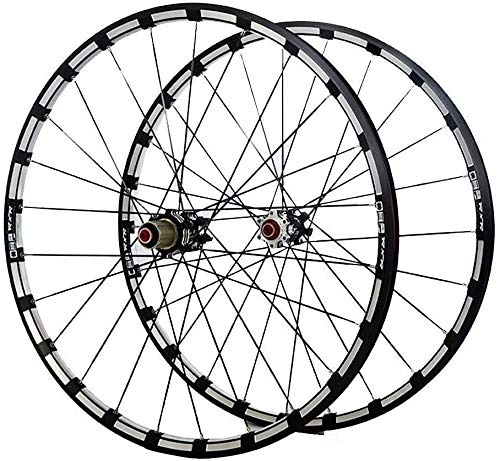 26 27.5 in MTB Bike Wheelset Bicycle Wheels Double Layer Alloy Rim 7 Sealed Bearing 11 Speed Cassette Carbon Hub Disc Brake QR 24H Bike Wheel (Color : Black HUB, Size : 27.5inch)
