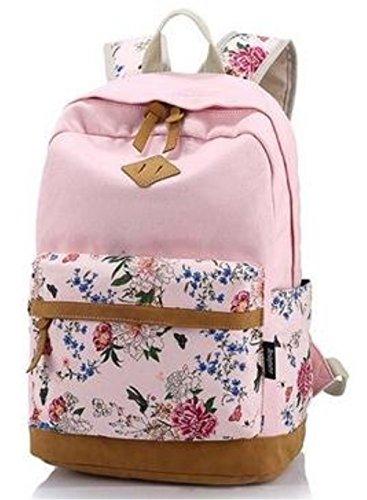 icase4u® Multi-Función Moda Mochila Bolsa Escolar Mochila Funcional Ideal para Primaria Secundaria y Colegio Casual Bonita Mochila de Marcha para Picnic para Mujer o Chica (Flores-rosa1)