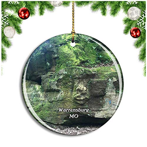 Weekino Warrensburg Cave Hollow Park Missouri USA Christmas Ornament Xmas Tree Decoration Hanging Pendant Travel Souvenir Collection Double Sided Porcelain 2.85 Inch
