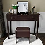 Amolife Vanity Set with Flip Top Mirror Study Writing Desk Makeup Dressing Table with 2 Drawers Cushioning Storage Stool Set, 3 Removable Organizers Easy Assembly in Brown