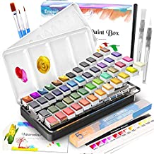 Watercolor Paint Set, Emooqi 42 Premium Colors + 6 Metallic Colors Pigment+ 2 Hook Line Pen+ 3 Water Brushes +20 Sheets of Water Color Paper, Richly Pigmented Portable Painting Art Painting