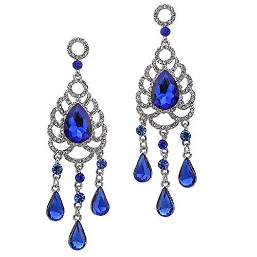 Hellery Pendientes Colgantes de Diamantes de Imitación de Lágrima de Araña de Cristal Bohemio de Lujo Perno Prisionero - Azul