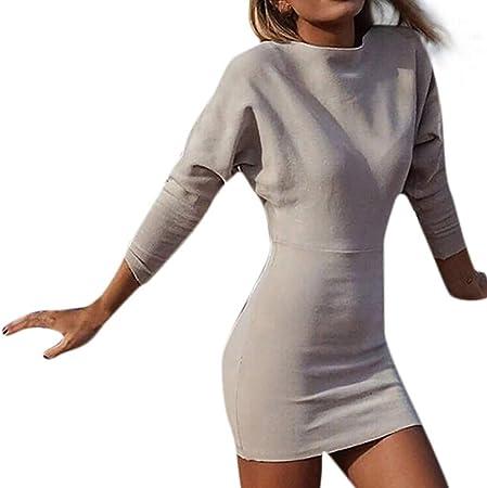 Sunday Damen Winterkleid Sexy Langarm Bodycon Kleid Rundhals Longpullover Frauen Pullikleid Slim Fit Minikleid Jerseykleid Musikinstrumente