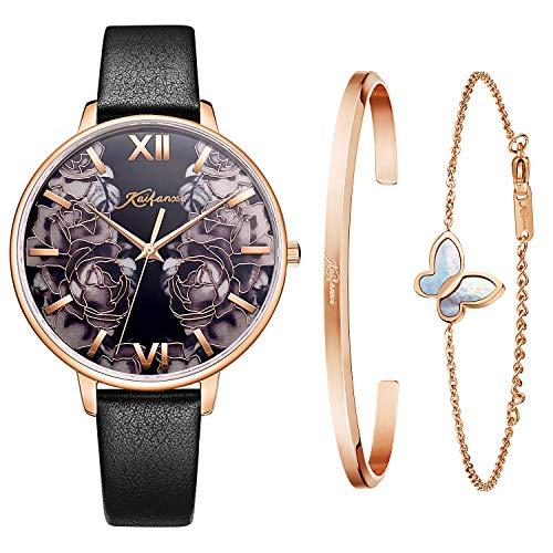 Kaifanxi dames quartz horloge minimalistisch modern design horloge met cadeauarmband voor dames saffierkristalglas roestvrijstalen band en leren band