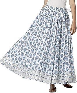 Srishti by FBB Printed Flared Skirt Light Blue
