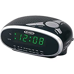 Jensen Compact AM/FM Alarm Clock Radio with Large Easy to Read Backlit LED Display Plus 6ft Aux Cable to Connect Any Ipod, Iphone or Mp3 Digital Audio Player
