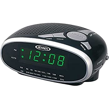 Jensen Compact AM/FM Alarm Clock Radio with Large Easy to Read Backlit LED Display Plus 6ft Aux Cable to Connect Any Ipod Iphone or Mp3 Digital Audio Player