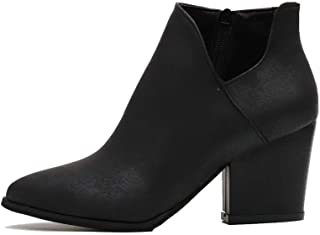 Kiss Me Womens Pointed Toe Ankle Booties Slip on Cutout Snakeskin Mid Heel Booties Wedge Ankle Rubber Boots