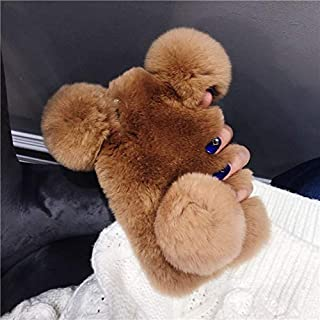 Fuzzy iPhone 8 Plus Case, iPhone 8 Plus Fluffy Bear Ear Cases, Cute Furry Brown Plush Fur Phone Cases for Girls Women Winter Warm Soft Back Shockproof Protective Cover with Bling Glitter Crown