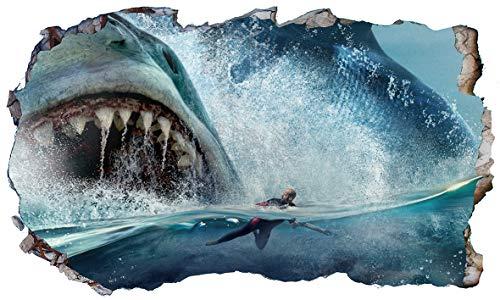 Chicbanners die Meg Megalodon Shark 3D Magic Fenster Sortiert Wandtattoo Selbstklebende Poster Wall Art Größe 1000mm breit x 600mm tief (groß)