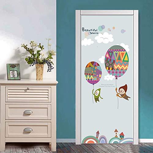 DFKJ Ballontür Dekoration Aufkleber Cartoon Tür Poster Selbstklebende Tapete DIY Wandbild für Kinderzimmer Schlafzimmer A15 86x200cm
