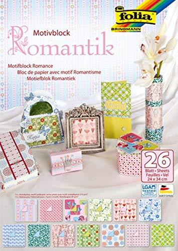 folia 46949 - Motivblock Romantik, 24 x 34 cm, 26 Blatt sortiert, 13 x Motivkarton 270 g/qm und 13 x Motivpapier 80 g/qm, für vielfältige Bastelarbeiten