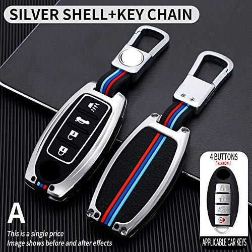 HYSJLS Auto Key Soft Case Cover Tenedor de la Cubierta de la Funda de la Llave del Coche de la aleación de Zinc para Nissan Altima Maxima Murano GTR (Color Name : Silver)