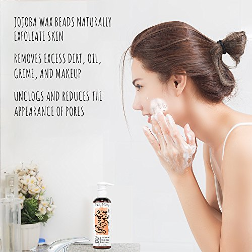Glycolic Acid Exfoliating Cleanser Anti-Aging Face Wash w AHA, Tea Tree and Rosehip Extracts for Wrinkles, Lines