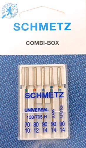 pist/ón Plano Surtido Universal Jeans /& Stretch ZickZackNaehmaschine 5 Agujas para m/áquinas de Coser Schmetz