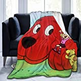 Lucky House1 Cli-Ffo-rd Powerful Th-e B-Ig Re-d D-Og Ultra Soft Throw Blanket Flannel Fleece All Season Light Weight Sofa Couch Creative Warm Blanket,Black,50'' X40