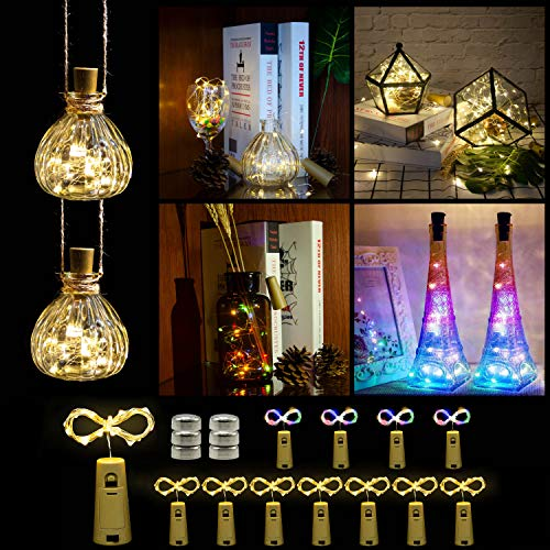 Wine Bottle Lights with Cork,DIY String Light Ornaments for Tables,Parties, bar Decorations,...