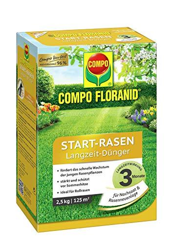 COMPO FLORANID Start-Rasen Langzeit-Dünger, 3 Monate Langzeitwirkung, Feingranulat, 2,5 kg, 125 m²