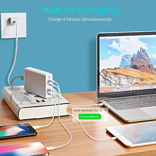 iPad AirienX 75W 4-Port Wall Charging Hub Samsung Galaxy S8 S9 iPhone X XS XR 8 7 6 iPad Pro Black USB and Type-C Power Delivery 3.0 5V//4.8A Desktop Charger for Apple MacBook and More