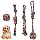 Pinsheng 4 Piezas Juguetes de Cuerda para Perros da Algodón, Interactuar Juego de Juguetes para Perros, Conjunto de Cuerda para Perros y Cachorros da Masticar Tirón Sacudida Traer(4 Formas)