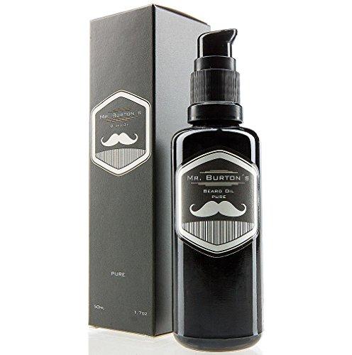 Bartöl von Mr. Burton´s Beard Oil - PURE - duftneutral - 50 ml Bart Öl für die Bartpflege - 100% natürliche Inhaltsstoffe - Premium Qualität - Made in Germany