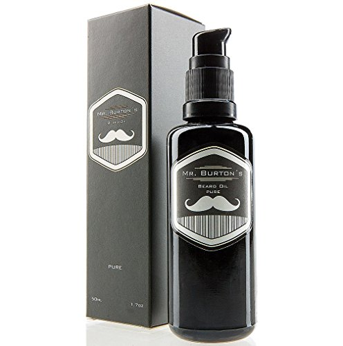 Bartöl von  Mr. Burton´s Beard Oil - PURE -  duftneutral - 50 ml Bart Öl für die Bartpflege - 100{218905271d686284b093c8965debce856bac2f86f6d2199cf3ea2003aee6e58a} natürliche Inhaltsstoffe - Premium Qualität - Made in Germany