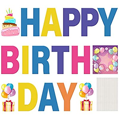 SZC Happy Birthday Yard Signs with Stakes -17 Pcs 18'' High Personalized Colorful Happy Birthday Yard Letters with Waterproof Used for Lawn, Children's Happy Birthday Decorations