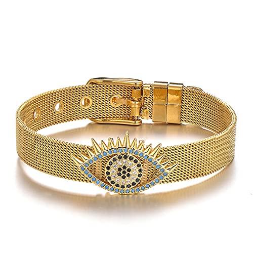 CLEARNICE Cz Zirconia Evil Eye Charm Bracelet Pulseras y brazaletes de Acero Inoxidable para Mujeres Hebilla de Malla Joyería de muñeca Pulsera Ajustable 20 Cm