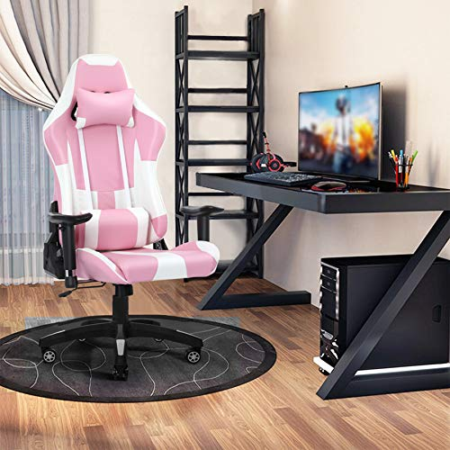 Gaming Chair with Bluetooth Speakers RGB LED Lights, Music Video Game Chair, Ergonomic PU Leather High Back Computer Chair, Adjustable Reclining Racing Office Swivel Chair for Adult Teens (Pink)
