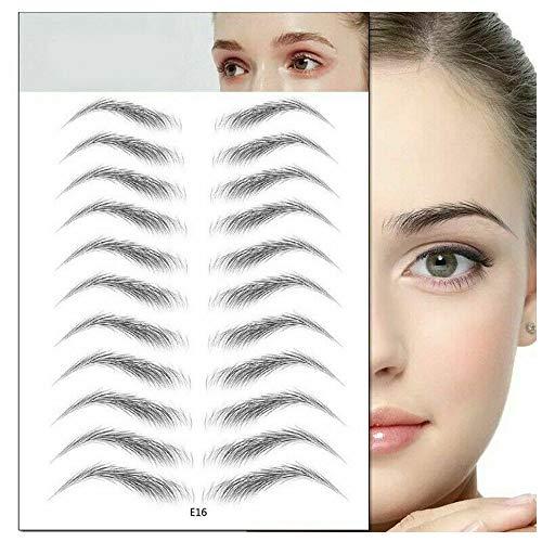 Autocollant de sourcil paresseux imperméable à l'eau, sourcils écologiques d'imitation semi-permanente pour femmes. (20 paires) (C)