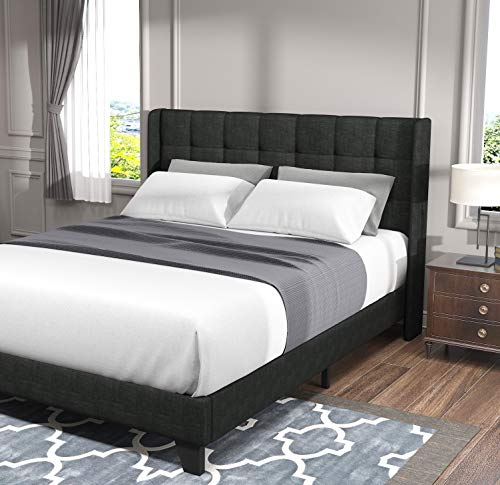Allewie Full Size Bed Frame, Platform Bed with Fabric Upholstered Square Stitched Wingback Headboard and Wood Slats, Mattress Foundation/Box Spring Optional/Easy Assembly, Grey