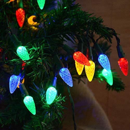 kingleder 18Ft 50LEDs C6 Colored Christmas Lights Indoor String Lights, Battery Powered Multicolored Strawberry Fairy Lights, for Christmas Tree, Garland,Wreath,Room, Window, Xmas Decorations.