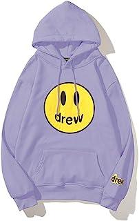 Kxin Drew House smiley face sweater men's trendy Bieber couples plus fleece hoodie