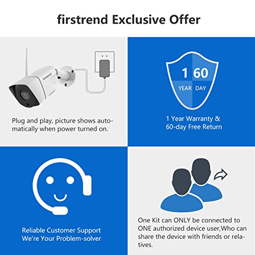 1080P Wireless Security Camera System, Firstrend 8CH Wireless NVR System with 8pcs 1080P HD Security Camera a   nd 3TB Hard Drive Pre-Installed,P2P Wireless Security System for Indoor and Outdoor Use