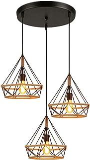 STOEX 3 Luces Lámpara de Techo Colgante Retro Industrial Luz de Araña Diamante Estilo Loft para Cocina Comedor Pasillo Sala de estar, Negro